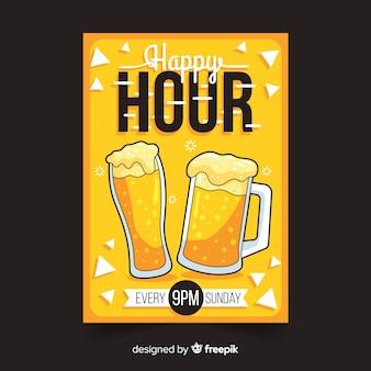 Cartel de happy hour con cerveza