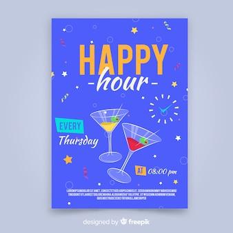 Cartel de happy hour con cócteles