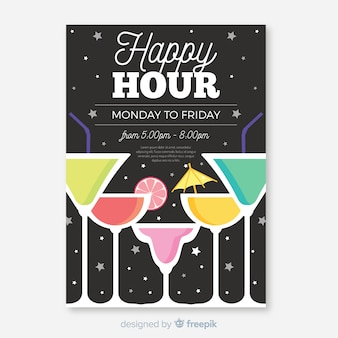 Cartel de happy hour con cócteles