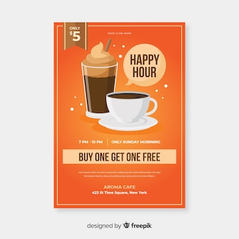 Cartel de happy hour para un delicioso café