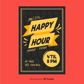 Cartel de happy hour para restaurantes