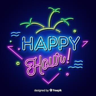 Cartel de happy hour tropical con diseño de neón