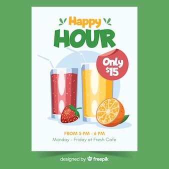 Cartel de happy hour verde con bebidas
