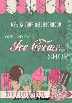 Cartel de heladería de diseño retro grunge