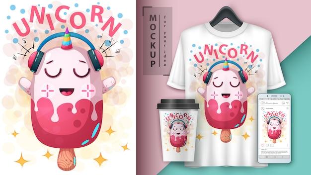 Cartel de helado de unicornio y merchandising.