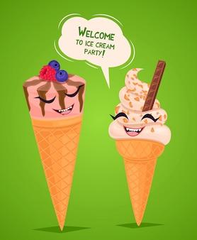 Cartel de helados divertidos