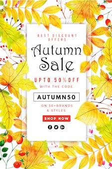 Cartel hermoso de la venta de las hojas de otoño de la acuarela