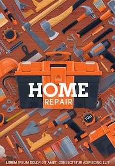 Cartel de herramientas de trabajo de reparación y construcción del hogar