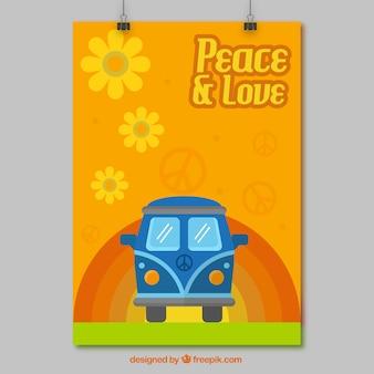 Cartel del hippie con la furgoneta
