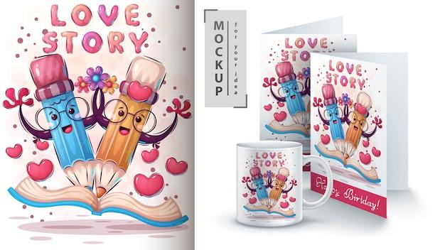 Cartel de historia de amor y merchandising