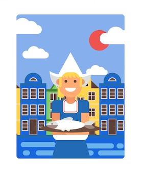 Cartel holandés en estilo plano simple, ilustración. niña sonriente en traje tradicional holandés sosteniendo el plato con arenque, casas antiguas de amsterdam en el fondo