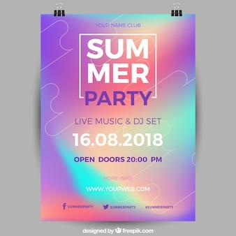 Cartel holográfico de fiesta de verano