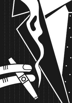 Cartel de un hombre y un cigarro.