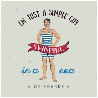 Cartel de hombre deportivo con texto sobre chico simple nadando en el mar de tiburones ilustración