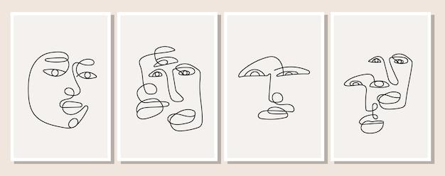 Un cartel con un hombre dibujado de una línea en un estilo minimalista y elegante. rostro abstracto de mujer y hombre. conjunto de silueta de personas. ilustración de vector de diseño de fondo.
