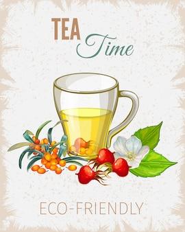 Cartel de la hora del té con flores y hojas