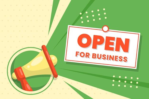 Cartel de horario de apertura nuevo plano creativo