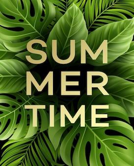 Cartel de horario de verano con hoja de palmera tropical