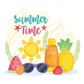 Cartel de horario de verano con iconos de vacaciones