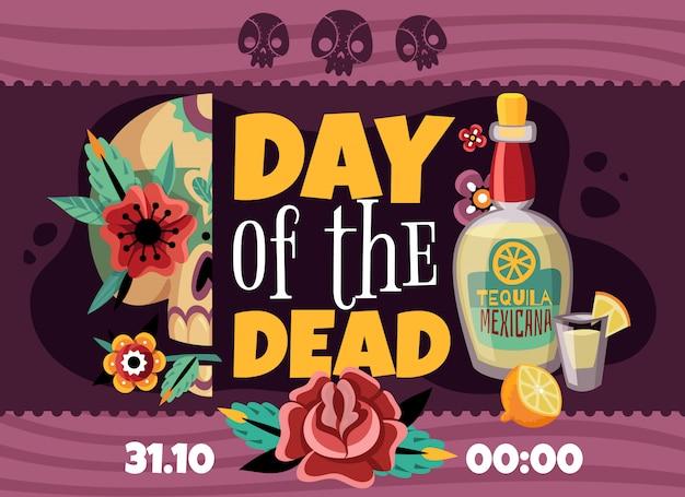 Cartel horizontal de anuncio de fiesta de día muerto con datos de tiempo tequila rosa flor scull colorido decorativo