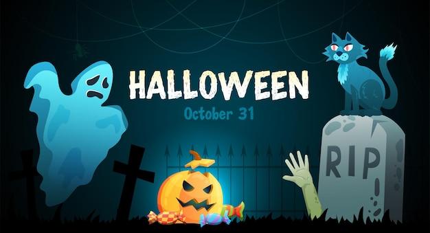 Cartel horizontal de la experiencia espeluznante de la fiesta de halloween con el fantasma de la lápida del cementerio embrujado espeluznante gato cabeza de calabaza
