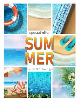Cartel horizontal de venta de verano con elementos de playa de verano, sombrilla y pisos