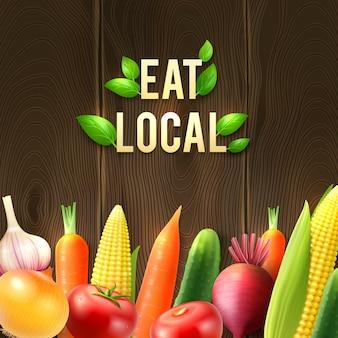 Cartel de hortalizas agrícolas ecológicas