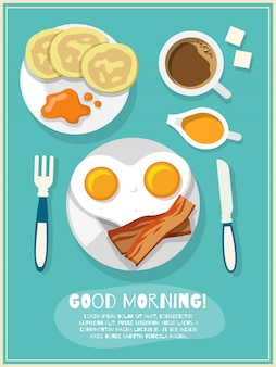 Cartel de icono de desayuno
