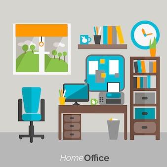 Cartel de icono de muebles de oficina en casa
