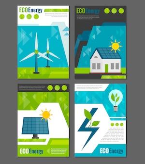 Cartel de iconos de energía ecológica