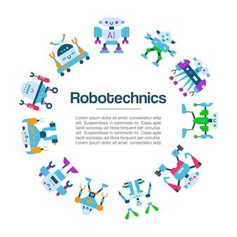Cartel de iconos de juguetes robot. tecnología de máquina robótica. robocop personajes de dibujos animados. inteligencia robotécnica