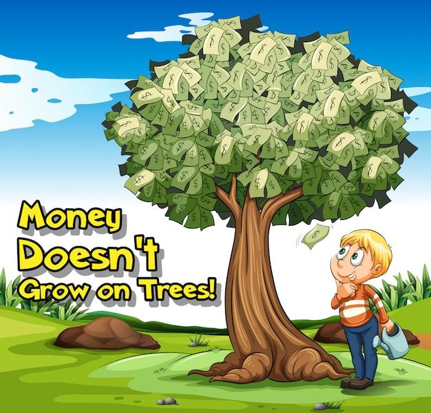Cartel del idioma con el dinero no crece en los árboles.