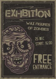 Cartel de ilustración de cabeza de zombie