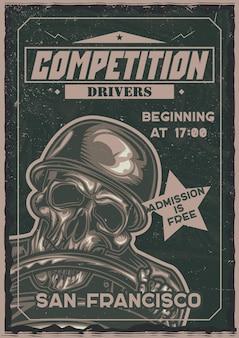 Cartel de ilustración de esqueleto detrás del volante