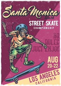 Cartel de ilustración de hombre en patineta
