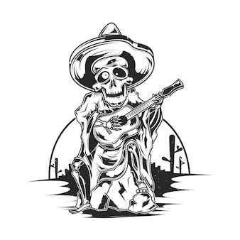 Cartel de ilustración de músico mexicano