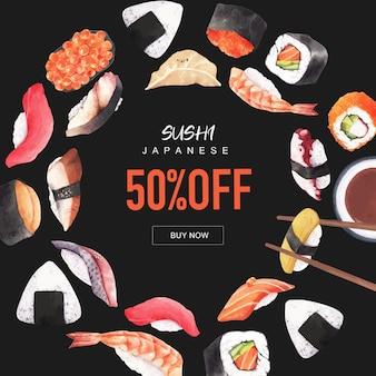 Cartel de la ilustración del restaurante de sushi. de inspiración japonesa en estilo moderno