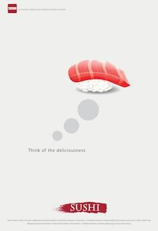 Cartel de la ilustración del restaurante de sushi