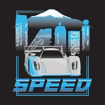 Cartel de ilustración de velocidad de japón con diseño de coche de carreras