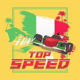 Cartel de ilustración de velocidad máxima de italia con diseño de coche de carreras de fórmula e