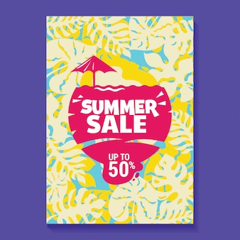 Cartel de ilustración de venta de verano con paleta, playa y fondo de hojas tropicales