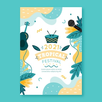 Cartel ilustrado del festival de música 2021 diseño ilustrado