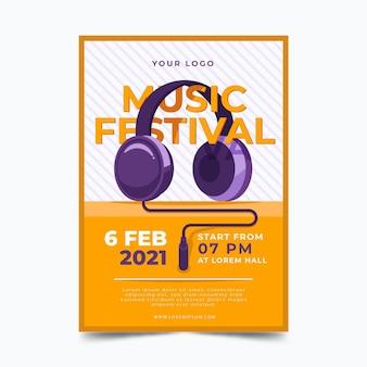 Cartel ilustrado del festival de música 2021 tema ilustrado