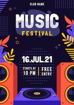 Cartel ilustrado festival de música de plantilla