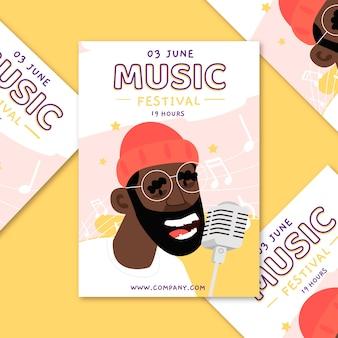 Cartel ilustrado de música concepto