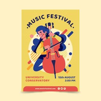 Cartel ilustrado de música de diseño