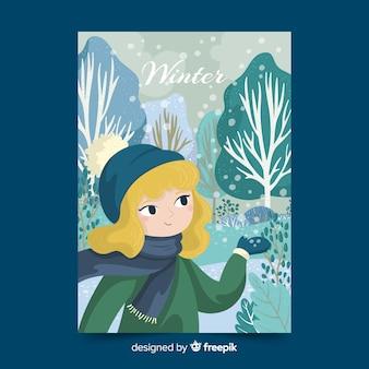 Cartel ilustrado de la temporada de invierno