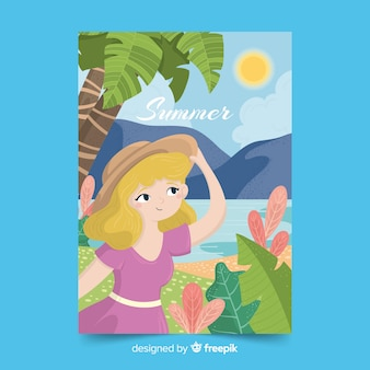Cartel ilustrado de la temporada de verano