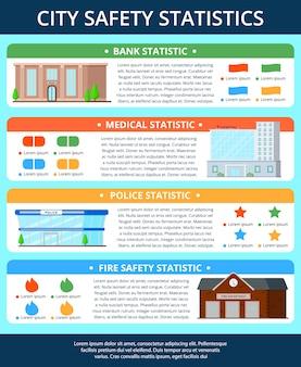 Cartel de infografía de edificios de la ciudad
