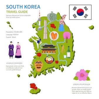 Cartel de infografía de guía de viaje de corea del sur
